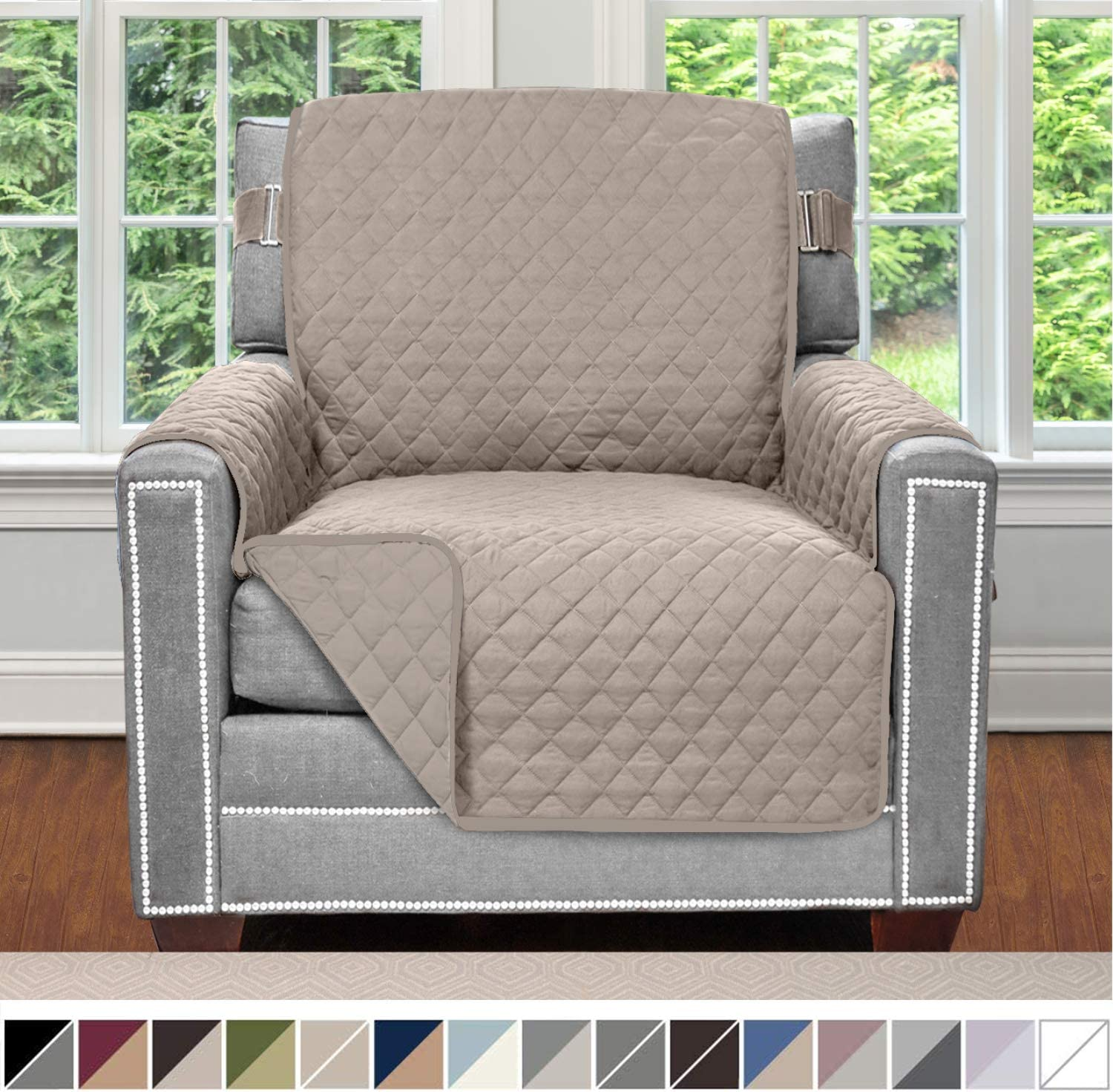 Sofa Shield Original Patent Pending Reversible Chair Protector for Seat Width up to 23 Inch, Furniture Slipcover, 2 Inch Strap, Chairs Slip Cover Throw for Pet Dogs, Cats, Armchair, Light Taupe: Home & Kitchen