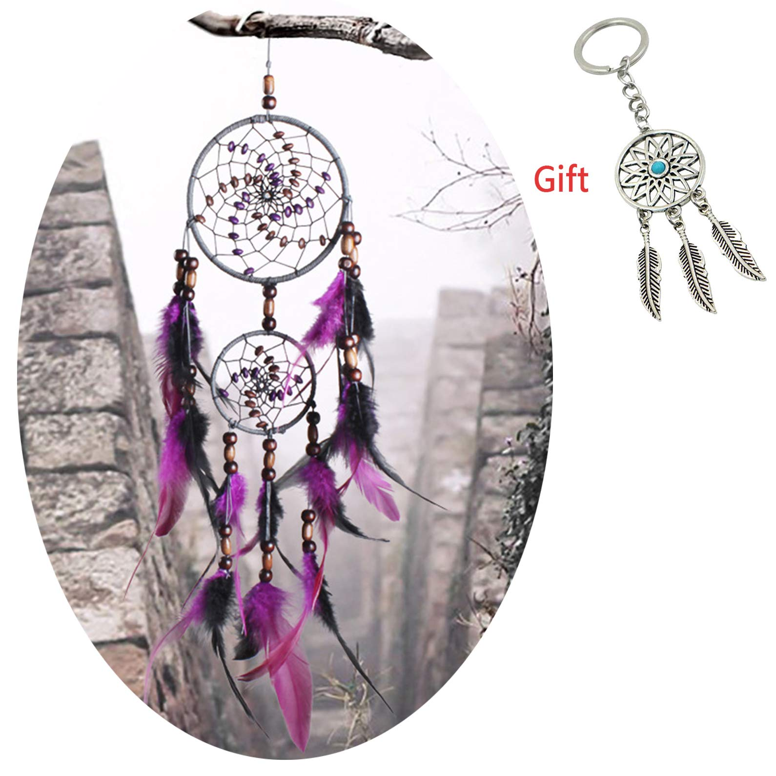 AWAYTR Dream Catchers Gift Handmade Decoration - Caught Dreams Dream Catcher Net for Wall Hanging Ornament (Purple&Black)