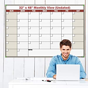 Dunwell Jumbo 32x48 Dry-Erase Planner - (Brown), Undated Monthly Weekly Planner, Includes Extra 2020 Calendar, Laminated Erasable Calendars by Dunwell Reusable
