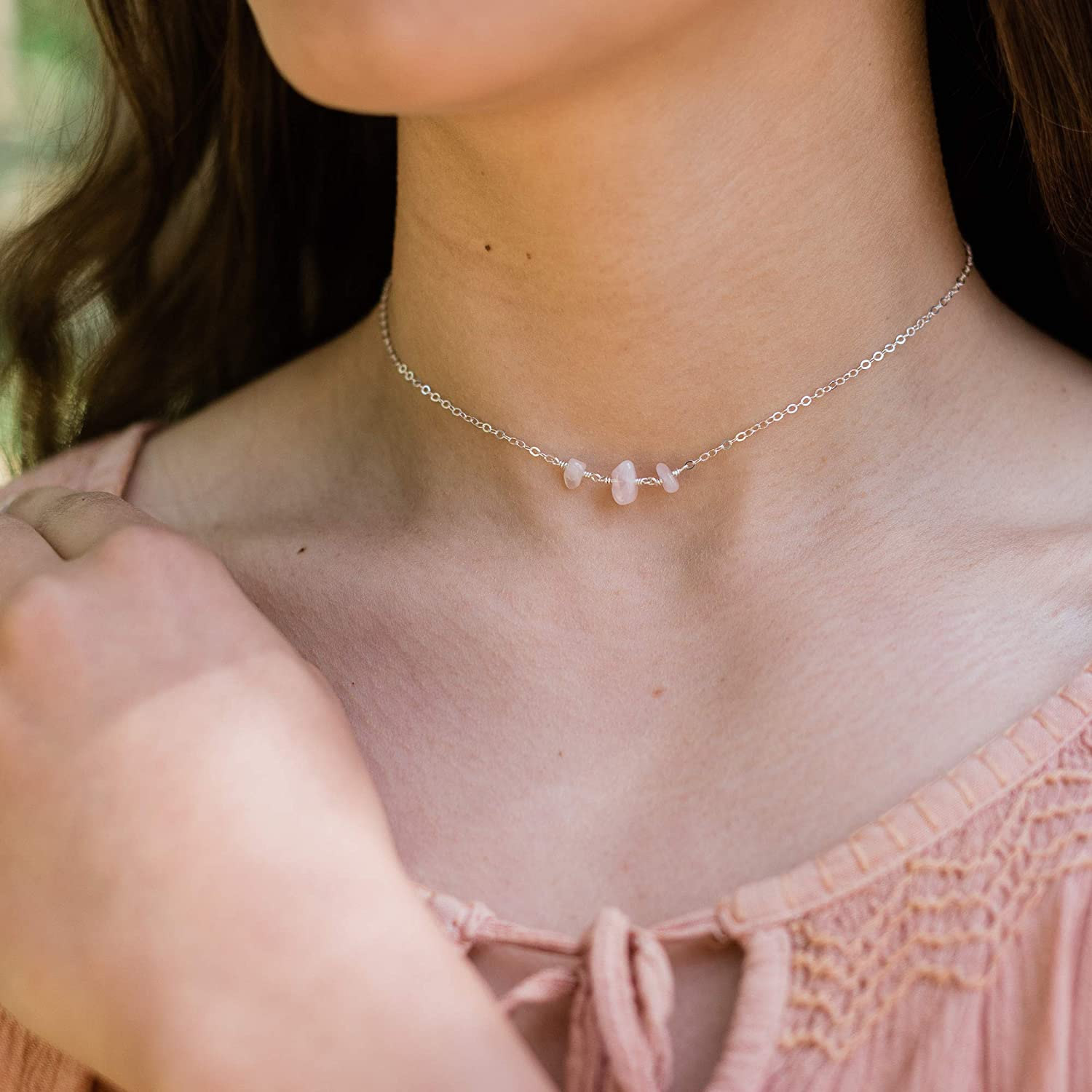 Rose Quartz Chain Necklace 925 Sterling Silver for Women and Girls