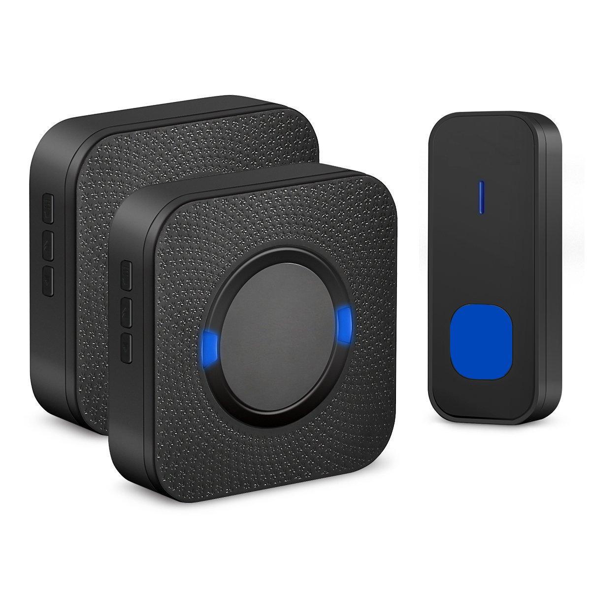 Door Sensors Wireless Doorbell Door Ring Bell Adjustable Volume Waterproof Door Chime Kit With 2 Receivers Sounds Like Speakers Door Open Chime For Home-Black-Ms Kelly