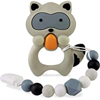 Baby Teething Toys for 0-6 6-12 Months Babies, Silicone Teethers with Relief Beads Binky Holder and Pacifier Clips…