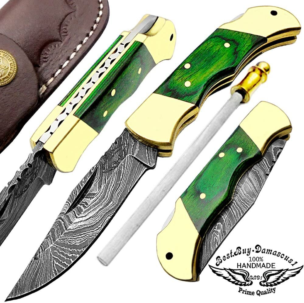 Green Wood 5.5 Custom Handmade Damascus Steel Folding Pockets Knife with Back Lock