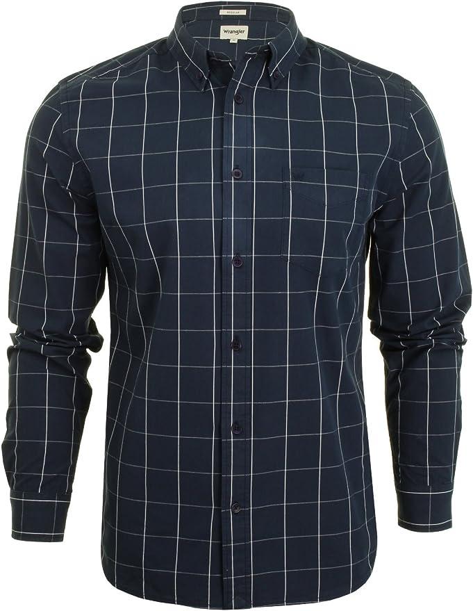 Wrangler - Camisa casual - Cuadros - Manga larga - para hombre marine M: Amazon.es: Ropa y accesorios