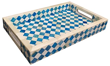 Amazon Com Handicrafts Home 12x8 Turquoise White Decorative Tray
