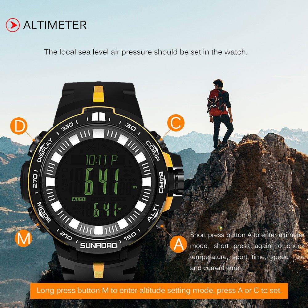 Lixada SUNROAD Reloj Digital Deporte Hombres 5ATM Agua Resistente Altímetro Brújula Pesca Barómetro Reloj: Amazon.es: Deportes y aire libre
