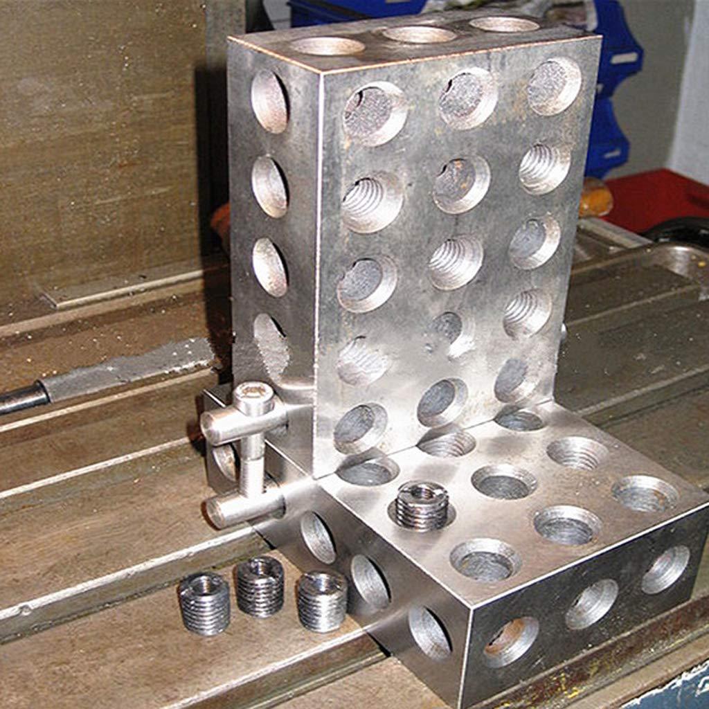 argent-0.0001 H HILABEE 2pcs En Acier Tremp/é 25x50x75mm Blocs 0.0001// 0.0002 Pr/écision Assortie Machinist 123 Outil de Fraisage 23 Trous 1-2-3 Jauge de Bloc
