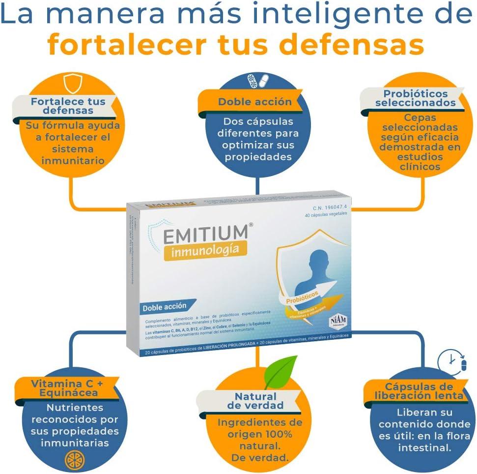 EMITIUM Inmunología con probióticos, vitaminas y minerales - 40 cápsulas vegetales: Amazon.es: Salud y cuidado personal