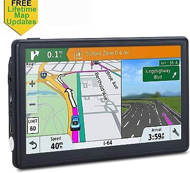Navegación GPS para Coche, 7 Pulgadas Sat Nav Lifetime Map Update Spoken Turn-to-Turn Sistema de navegación para Coches: Amazon.es: Electrónica