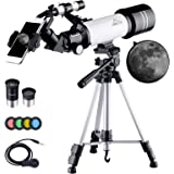 MAXLAPTER Telescopes for Astronomy, Refractor Telescope with Tripod, Smartphone Adapter, Two Eyepieces, Carrying Case, Portab