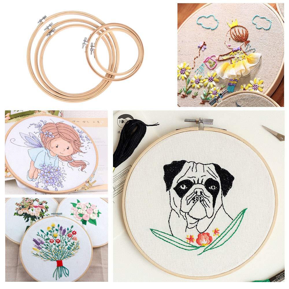 Embroidery Ring,Embroidery Hoops 5 Pieces Round Bamboo Circle Cross Set pour Artisanat dart Couture Pratique 17cm 20cm 23cm 26cm 30cm