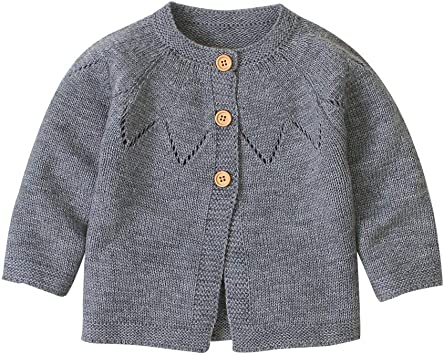 Lanhui Baby Kids Girls Long Sleeve Solid Color Knitted Cardigan Button Sweater Tops Spring Clothes 2020 New