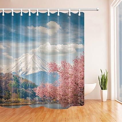 Mount Fuji And Sakura At Kawaguchiko Japan Shower Curtain Mildew Resistant Polyester Fabric Bathroom Bath Curtains