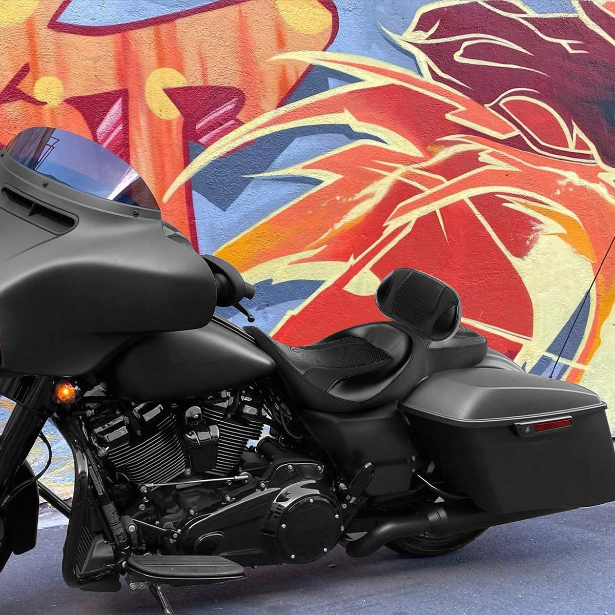 XFMT Low Profile One-Piece 2-Up Driver Passenger Seat W//Rider Backrest Pad For Harley Davidson Touring Road King CVO 2009-2020