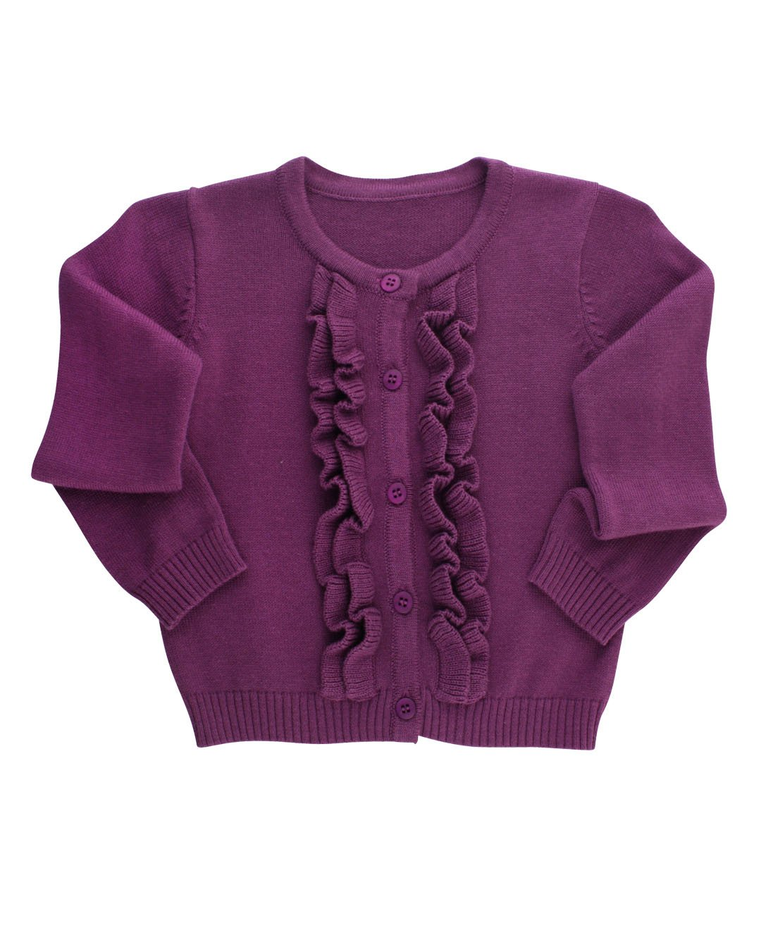 RuffleButts Infant/Toddler Girls Ruffled Long Sleeve Cardigan - Purple - 3-6m