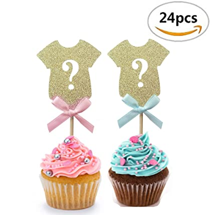 Gender Reveal Party Decor Gold Onesie Question Mark Cupcake Toppers