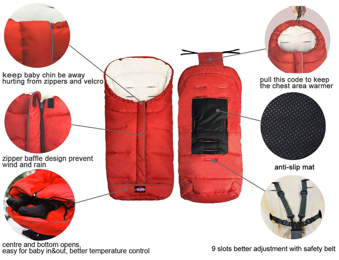 Cozy Baby Sleeping Bag Cocoon Adaptable for Most Style Strollers Water Repellent,Anti-Slip,Extendable,Multifunction Use Footmuff for Stroller Blanket