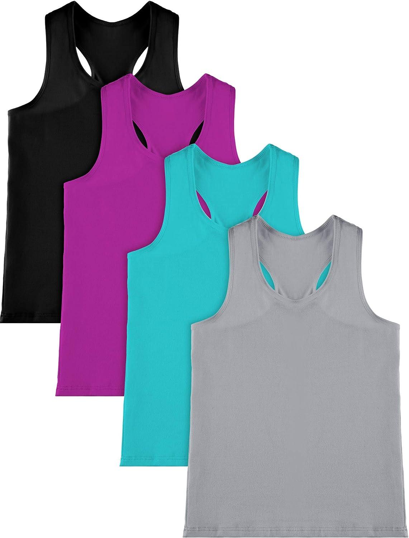 SATINIOR 4 Pieces Girls Dance Tank Tops Cotton Racerback Crop Tank Tops Sleeveless Top for Gymnastics and Dancewear