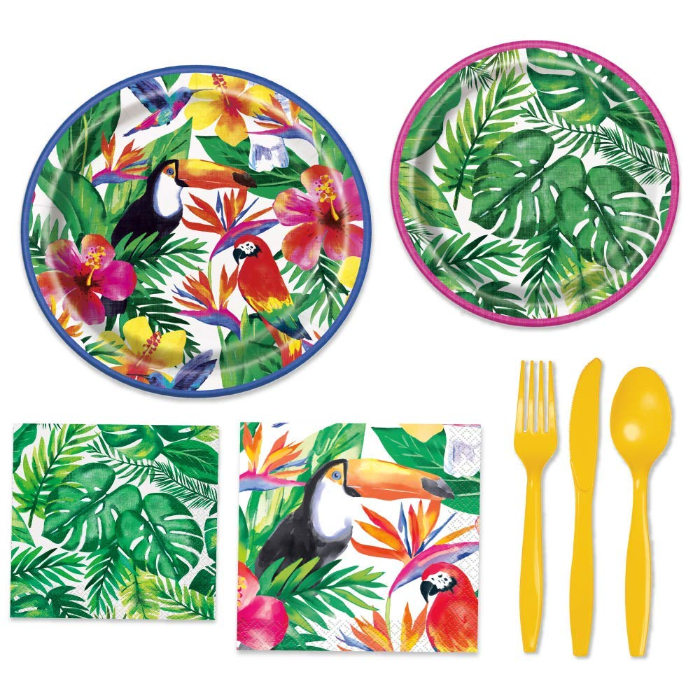 Rainforest Party Supplies - Palm Tree Themed Paper Plates, Napkins, Plasticware