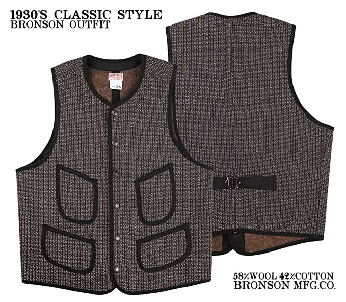 Men's Vintage Workwear – 1920s, 1930s, 1940s, 1950s Bronson Union Made 1930S Classic Style Salt & Pepper Browns Beach Wool Outfit Vest $99.99 AT vintagedancer.com