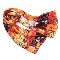 Prettystern - 160cm Gustav Klimt Stile Liberty Reproduzione Opera D'arte Sciarpa di Seta 100% Seta Opaca in20 Motivi