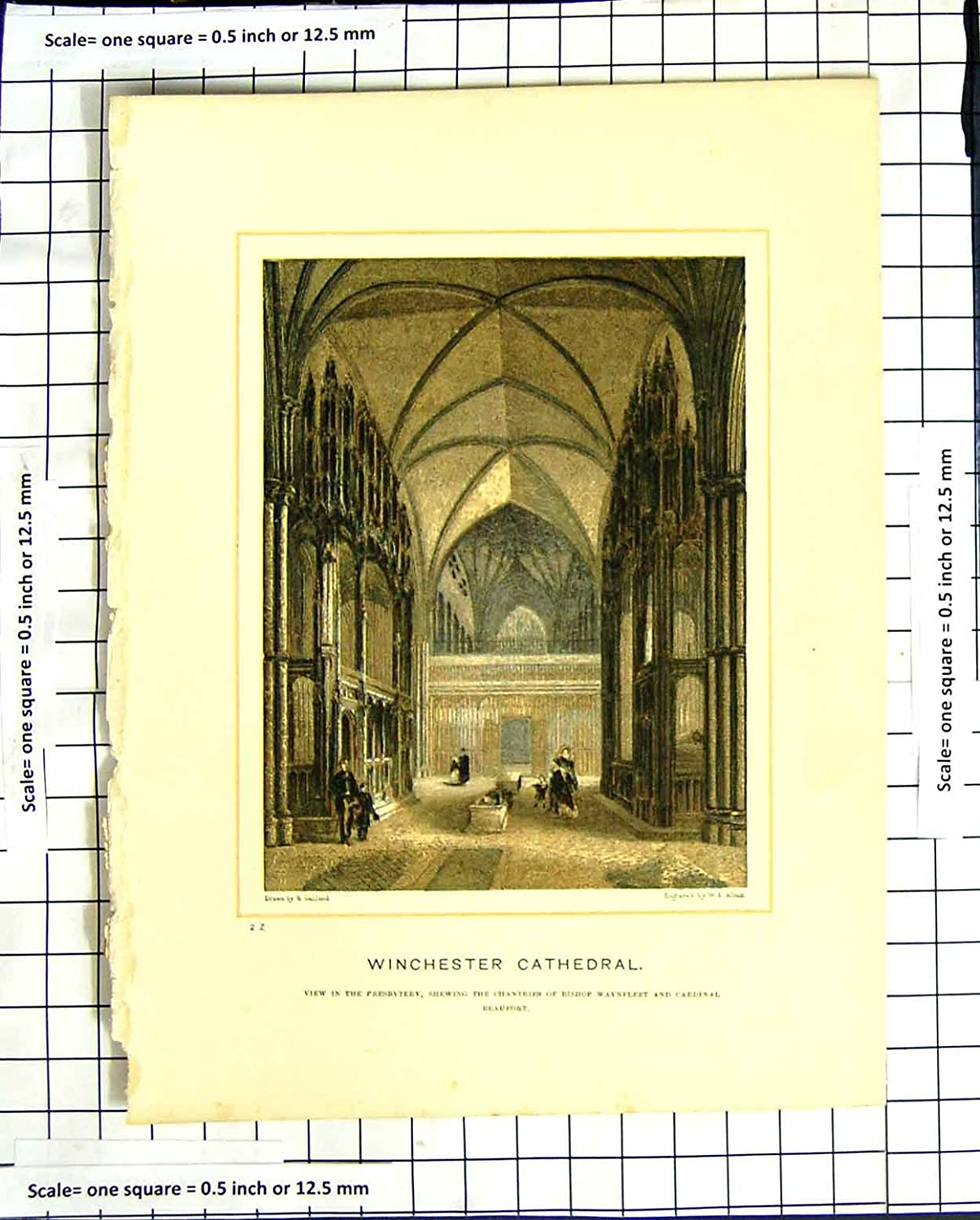 C1790-C1900 Winchester Cathedral England Chantries Old-print