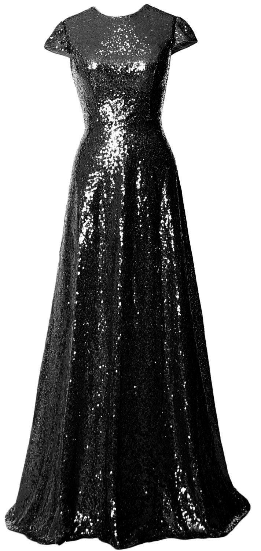 MACloth Women Cap Sleeve Sequin Long Bridesmaid Dress Wedding Party Evening Gown (26w, Black)