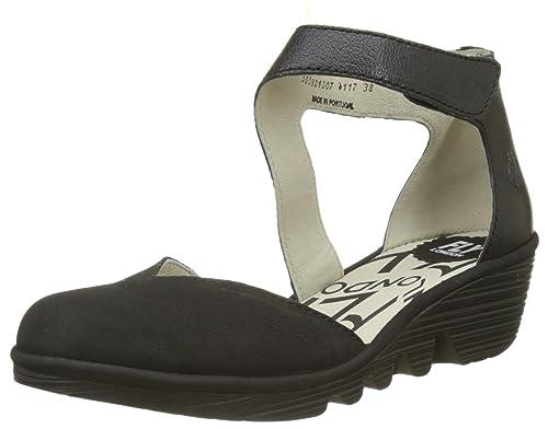 Pats801fly, Zapatos con Tacon y Correa de Tobillo para Mujer, Gris (Cloud/Offwhite), 39 EU FLY London