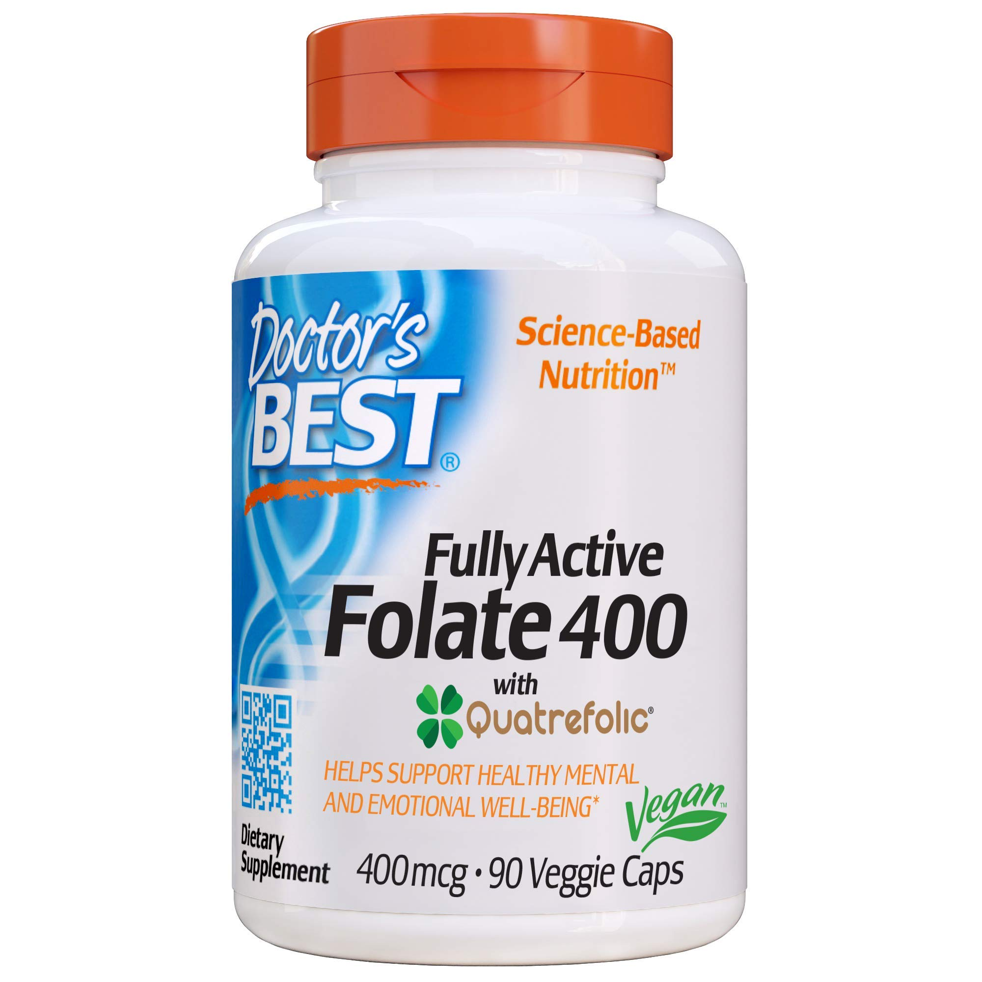 Doctor's Best Fully Active Folate with Quatrefolic NonGMO Vegan Gluten Free 400 mcg Veggie Caps, 90 Count