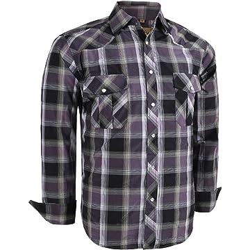 899b17c1 Coevals Club Men's Long Sleeve Casual Western Plaid Snap Buttons Shirt