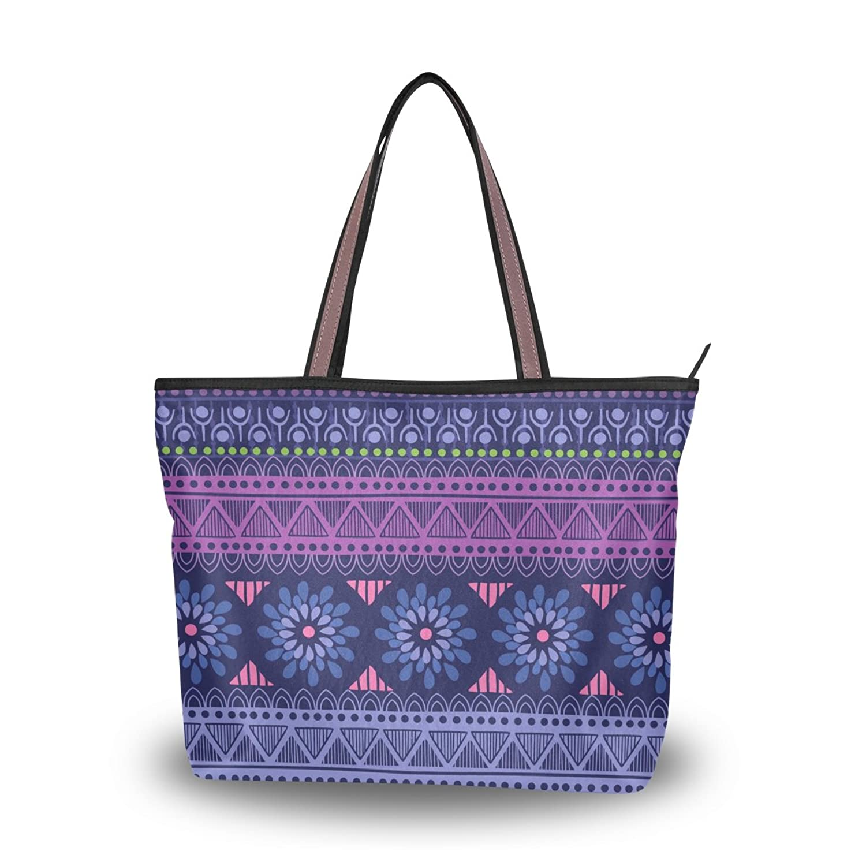 Senya Women's Handbag Microfiber Large Tote Shoulder Bag, Tribal Motif Pattern