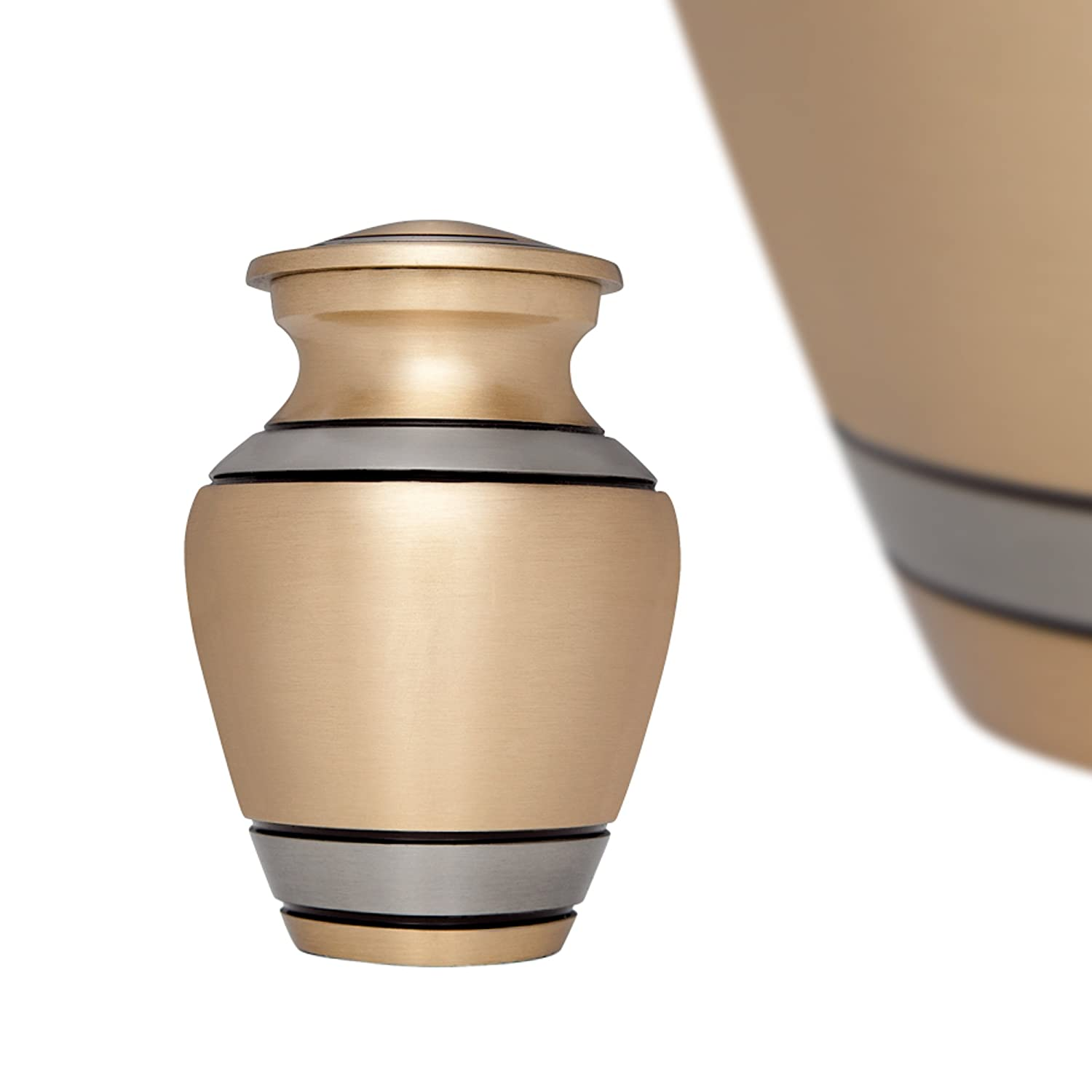 Liliane Memorials Silver Funeral Cremation Urn for Human Ashes Hand Made in Brass- Suitable for Cemetery Burial or Niche- Large Size fits remains of Adults up to 200 lbs - Peaceful Embrace Silver