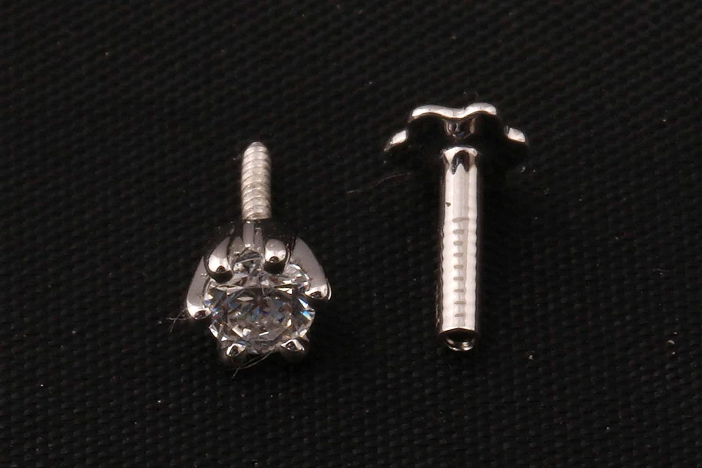 Demira Jewels 3.00mm Real Diamond 14k Gold Engagement Nose Lip Labret Monroe Ring Stud Screw