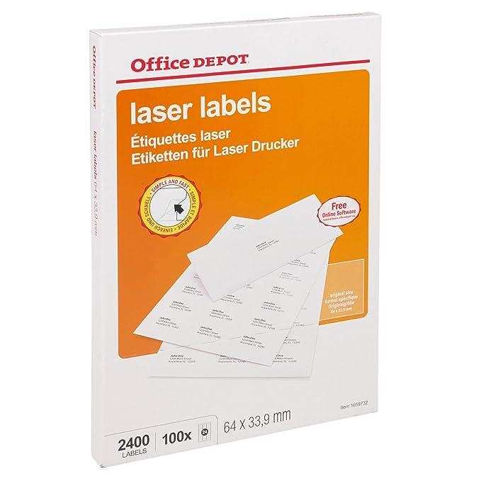A4 Mailing Address Labels 24 Per Sheet for Laser Printer Copier - Office  Depot
