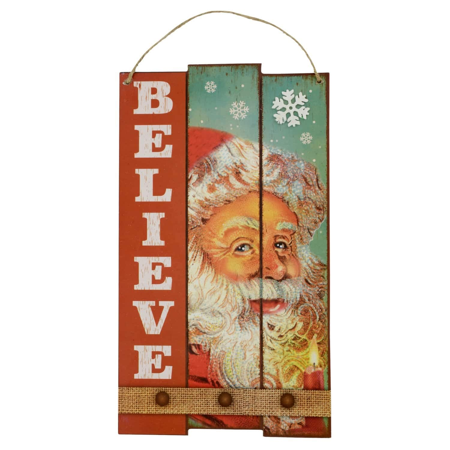 Christmas House Wood Plank Decorative Signs Set of 2