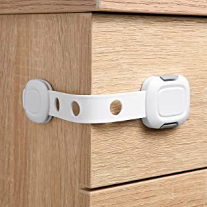 BABELIO Child Proof Locks for Cabinet Doors and Drawers, 10 Pack Baby Safety Latches, Adjustable Straps for Kitchen Cabinet, Refreigerator, Trash Can, Toilet, Button Design and Strong Adhesive