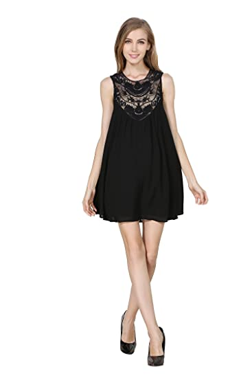 423bfec4e8 Little Smily Women's Casual Loose Fit Lace Splicing Chiffon Baby ...