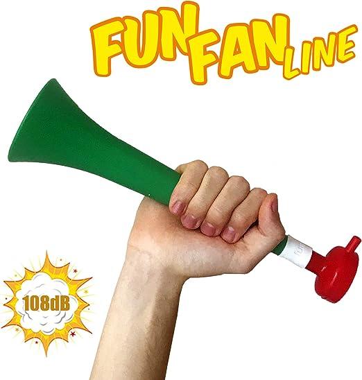 FUN FAN LINE - Pack x3 Trompetas Vuvuzela de plástico. Accesorio para fútbol y Celebraciones Deportivas. Bocina de Aire ruidosa para la animación. (Italia): Amazon.es: Deportes y aire libre