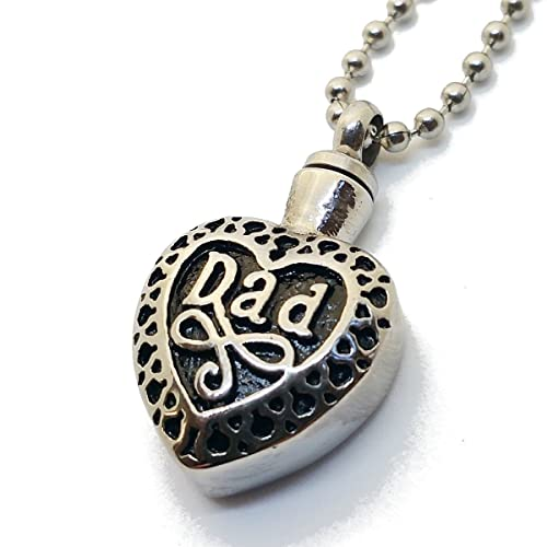 Cremation Jewelry Dad in Heart Urn Ashes Stainless Steel Pendant