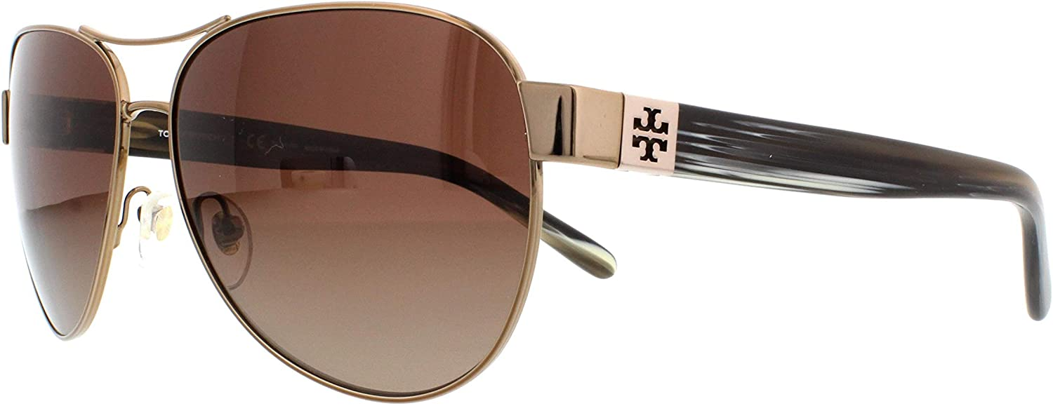 New Tory Burch TY 6051 3198T5 Light Gold//Olive Horn Sunglasses