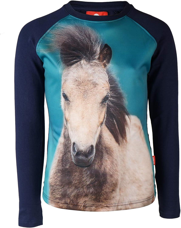 Horka Enfants à Rayures T Shirt Rose//Bleu cheval, poney, Glitter Stars Âge 1 2