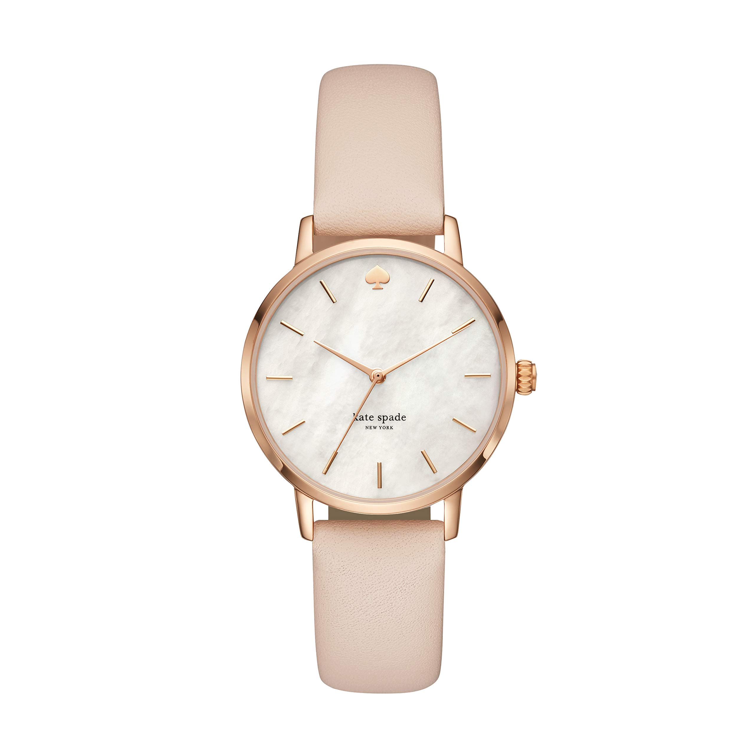 Kate Spade Women's Metro Stainless Steel Analog-Quartz Watch with Leather Calfskin Strap, Beige, 16 (Model: KSW1403) by Kate Spade New York