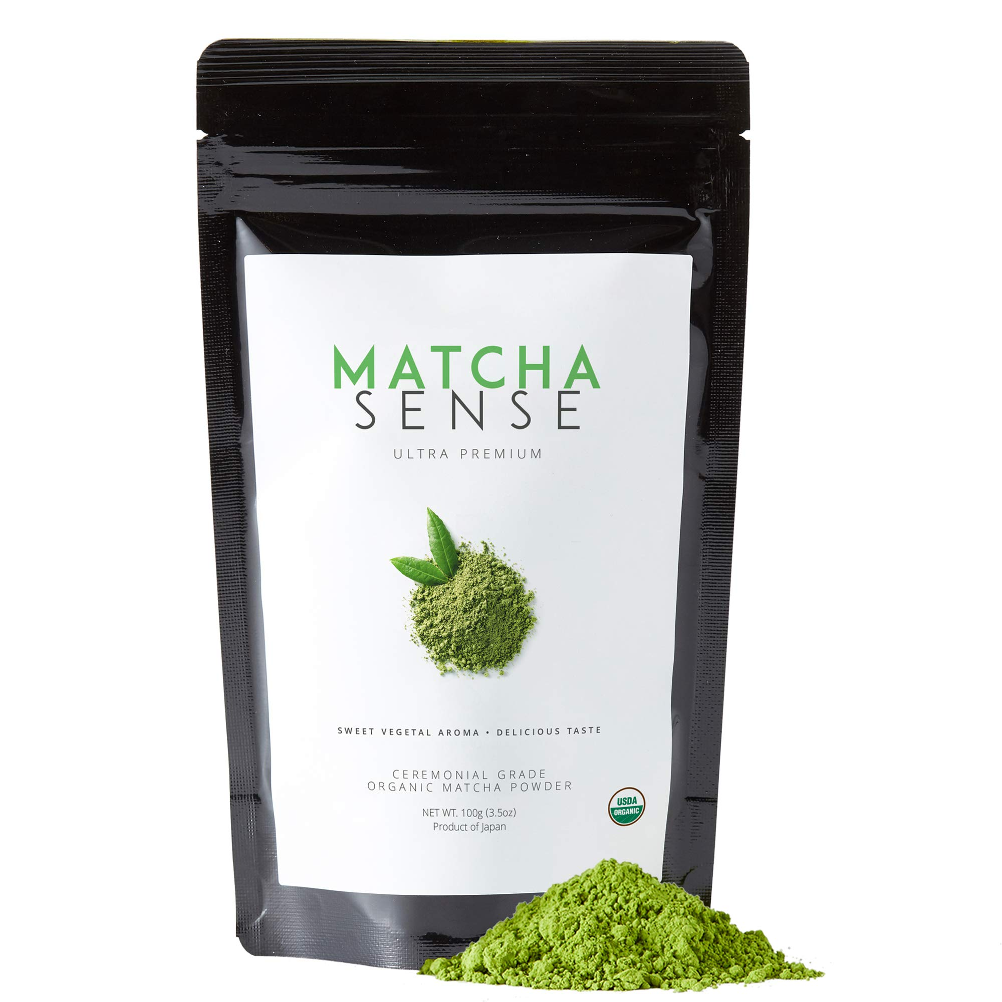 Matcha Sense - Organic Matcha Green Tea Powder Ceremonial Grade - Energy, Detox, Japanese Origin, Pure & Unsweetened - Easy Resealable Pouch - 100g Value Size by Matcha Sense