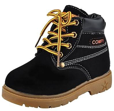 DADAWEN Baby Mädchen Boots Jungen Schneestiefel Wasserdicht Ankle Boots- Schwarz 21