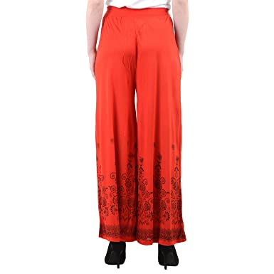 224b3841e18 Numbrave Women s Viscose Flower Palazzo Free Size Red at Amazon ...