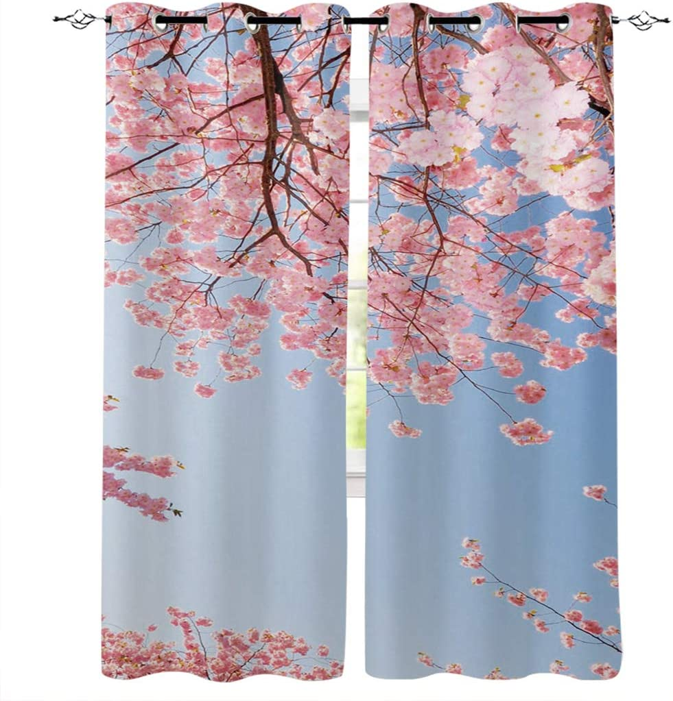 Edwiinsa Japanese Pink Cherry Blossom Flower Kitchen Blackout Curtains Window Drapes Treatment, 2 Panels Set for Kitchen Cafe Office, 55W x 39L inch