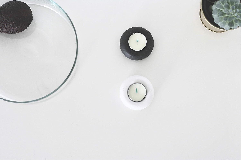 Set di 2, 1x Nero+1x Bianca anaan Apple Portacandele Porta Candele Tealight Lumini Candeliere Disegno Calcestruzzo Cemento Decorativo da Tavolo Geometrico Industriale Moderno