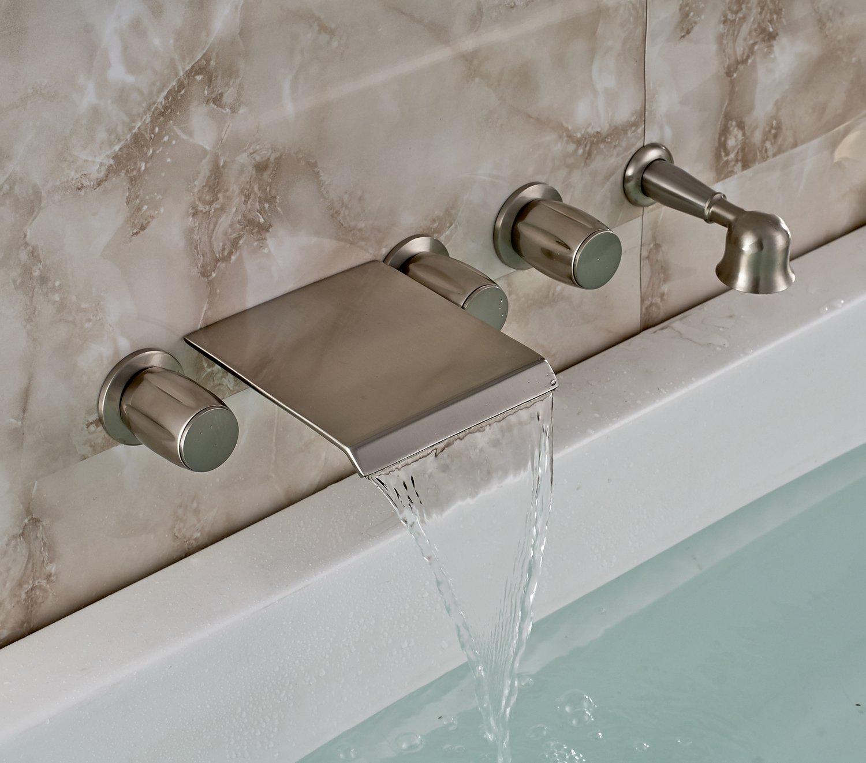Rozin Brushed Nickel Waterfall Tub Mixer Tap Wall Mounted 3 Handles ...