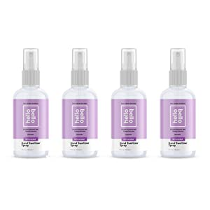 Hello Bello Hand Sanitizer Spray - Alcohol-Based Helps Kill Germs With No Sticky Residue - Lavender, 4 Fl Oz (Pack of 4)