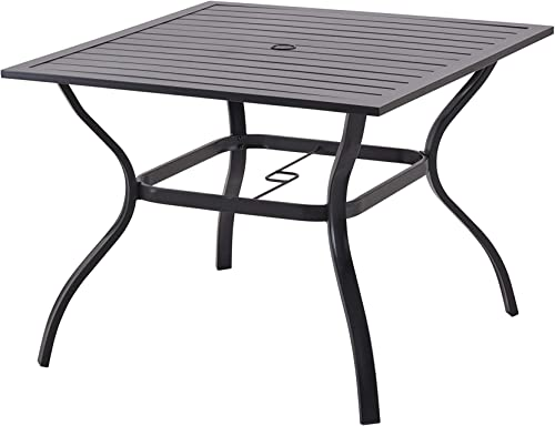Patio Dining Table Outdoor Metal Steel Frame Square Table with Umbrella Hole, Dining Table for 4